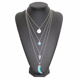 Bohemien style ketting kwastje 4 rijen zilver turquoise