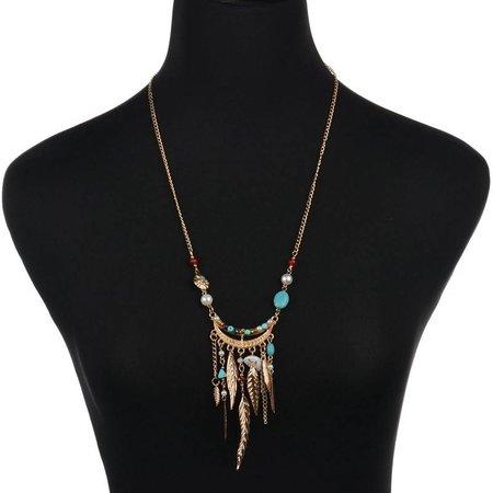 Bohemien style ketting versierd met gouden veren turquoise steentjes