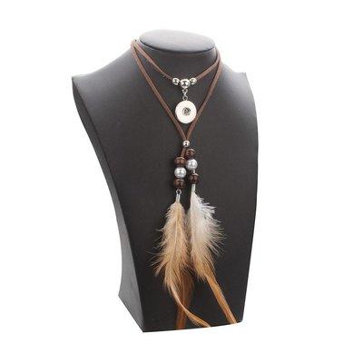 Bohemien style touw ketting met kralen en veren
