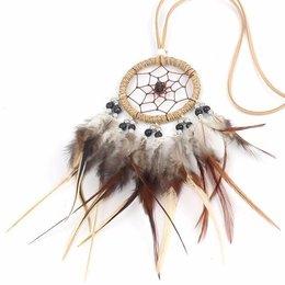 Bohemien style dromenvanger ketting met touw en bruine veren