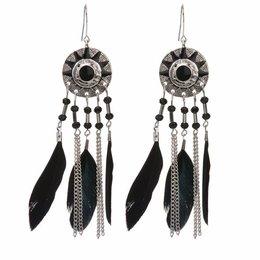 Droomvanger bohemien oorbellen zilver zwarte veren