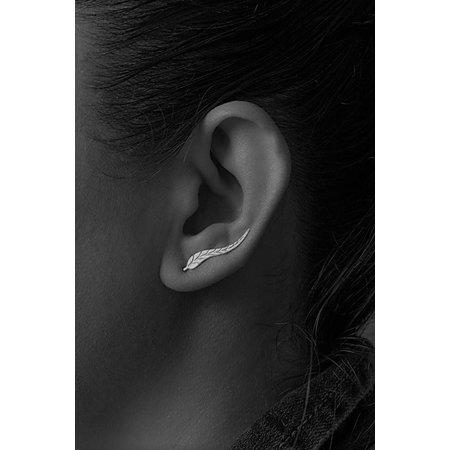 Oor manchet oor sieraad zilver kleur blad vorm