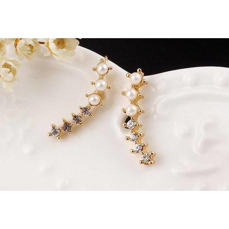 Oor manchet oor sieraad goud kleur met imitatie parels en kristalen