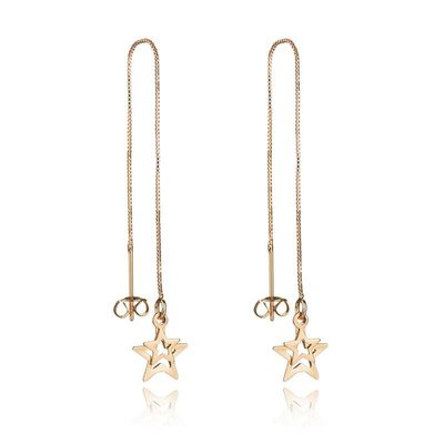 Lange ketting druppel oorbellen goud kleur met ster