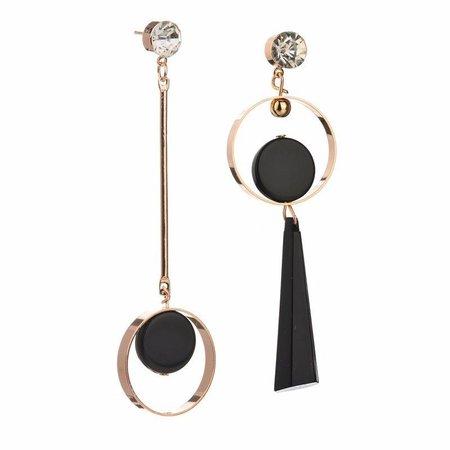 Lange asymmetrische unieke oorbellen met zwart goud kleur