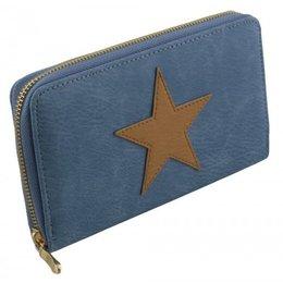 Trendy portemonnee donker blauw met ster