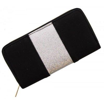 Trendy portemonnee zwart met zilver glitters