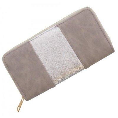 Trendy portemonnee grijs met zilver glitters