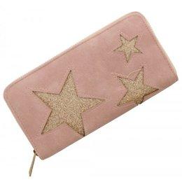 Trendy portemonnee met ster roze met kleur