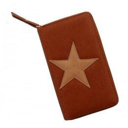 Trendy portemonnee bruin kleur met ster
