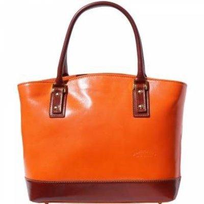 Mooie draagtas van kalfsleder oranje met bruin kleur opgerolde handgrepen