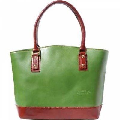 Mooie draagtas van kalfsleder donker groen bruin kleur opgerolde handgrepen