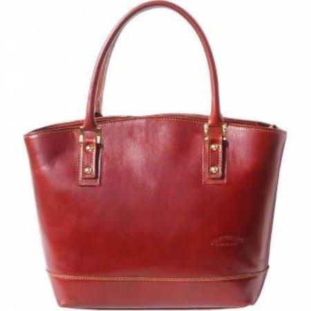 Mooie draagtas van soepele kalfsleder bruine kleur Tote bag