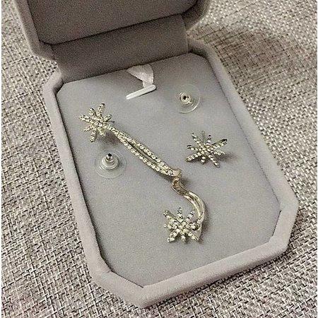 Oorclip luxe oorsieraden met sneeuwvlok ster