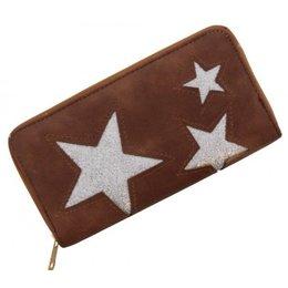Trendy portemonnee met sterren bruin met zilver glitters