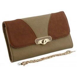 Bruin met beige portemonnee tasje met gouden ketting