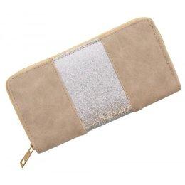 Trendy portemonnee licht bruin met zilver glitters