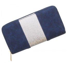 Trendy portemonnee blauw met zilver glitters