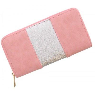 Trendy portemonnee roze met zilver glitters strook