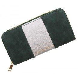 Trendy portemonnee donker groen met zilver glitters strook