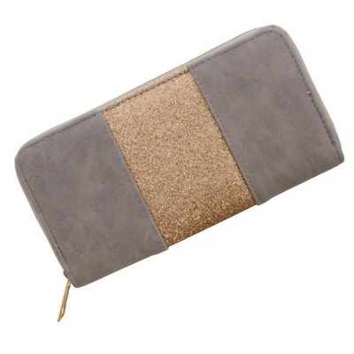 Trendy portemonnee grijs met gouden glitters