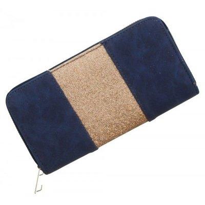 Trendy portemonnee donker blauw met gouden glitters