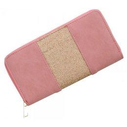 Trendy portemonnee roze kleur met gouden glitters