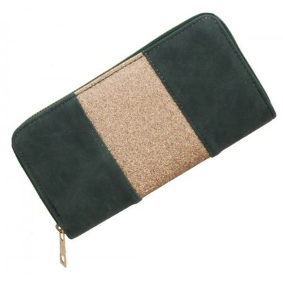 Trendy portemonnee donker groen met gouden glitters