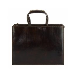 Aktetas laptoptas donker bruine kleur kalfsleder klassieke zakelijk