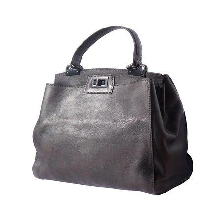 Vintage look met enkelvoudige handvat handtas schoudertas zwarte kleur