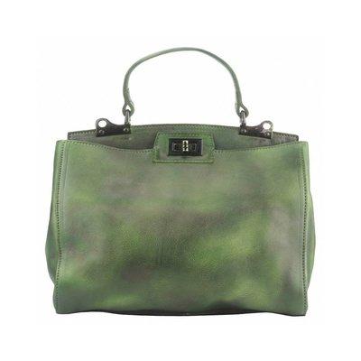 Enkelvoudige handvat schouderband hoogwaardige Vintage leer donker groen