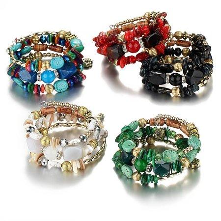 Bohemien geometrische armbanden met kleurrijke stenen en kralen
