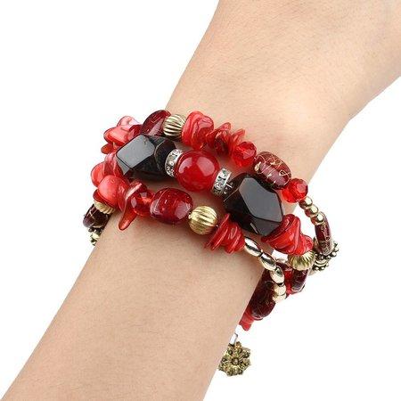 Bohemien geometrische armbanden met kleurrijke rode stenen en kralen