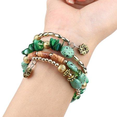Bohemien geometrische armbanden met zwart gouden stenen en kralen