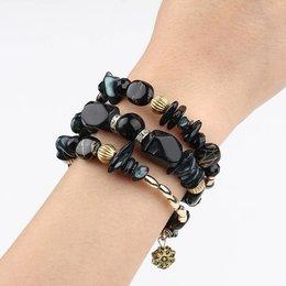 Bohemien armbanden met zwarte kleur stenen en kralen