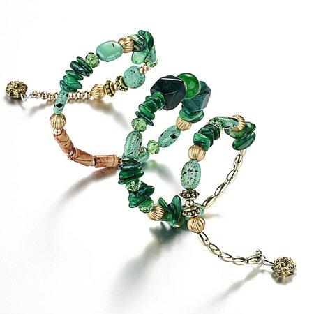 Bohemien geometrische armbanden met wit gouden stenen en kralen