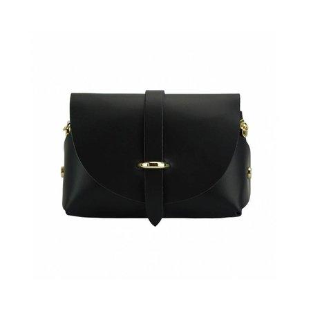 Elegante zwart kleur leder tas met afneembare kettingriem
