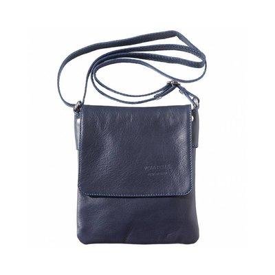 Kleine schoudertas donker blauw van zachte kalfsleder