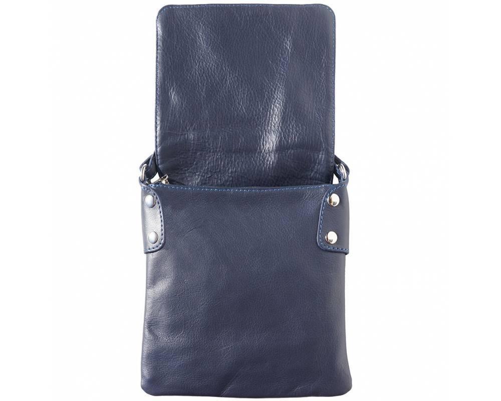Schoudertas Riem : Zacht leder crossbody tas in donker blauwe kleur