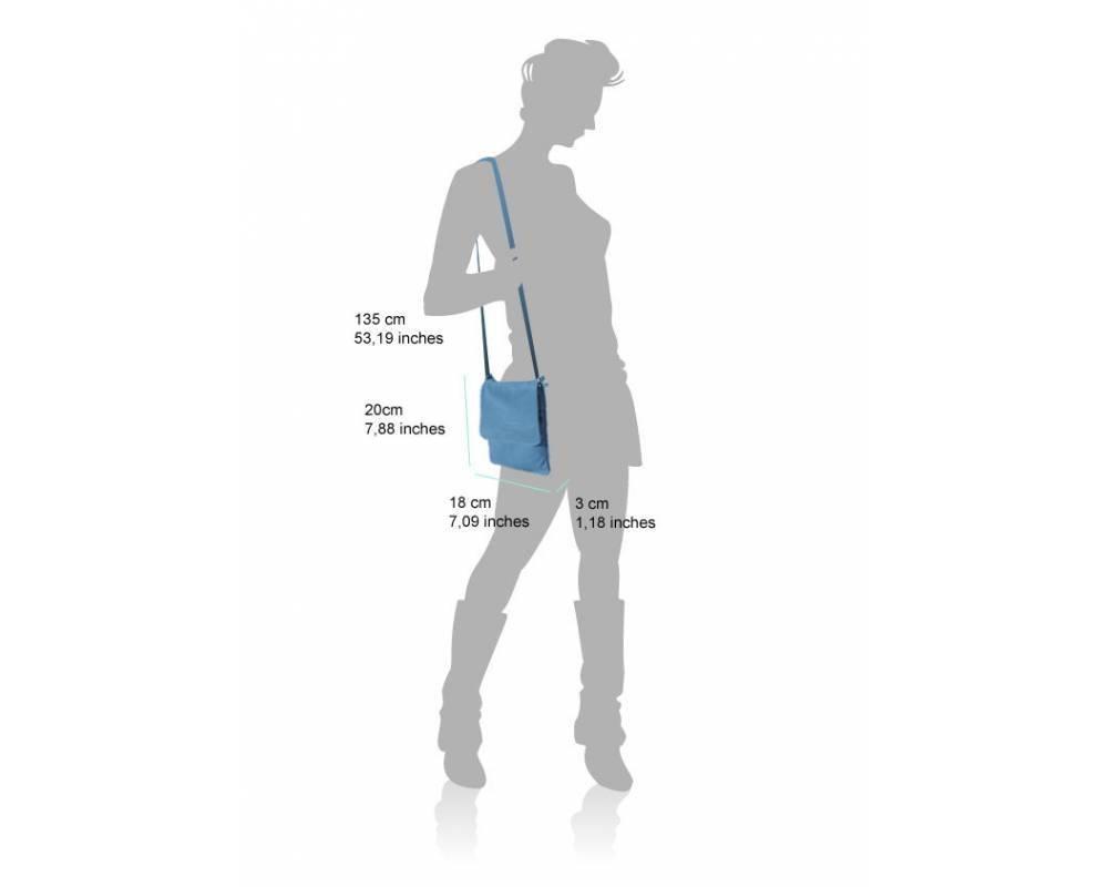 Schoudertas Riem : Zacht leder cross body tas turquoise licht bruin kleur