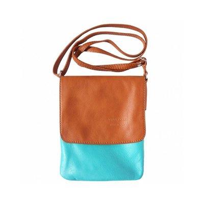 Kleine schoudertas turquoise licht bruin van zachte kalfsleder