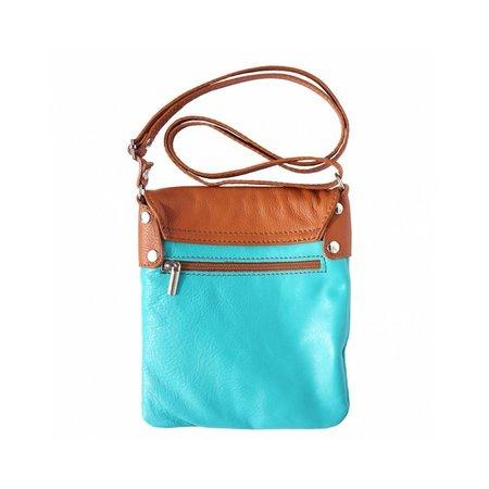 Kleine schoudertas lange riem turquoise licht bruin van zachte kalfsleder