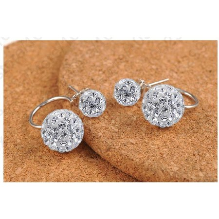 Zilver oorbellen met dubbel micro diamant kristalen discobal