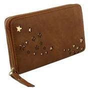 Bruine kleur portemonnee met gouden kleuren sterretjes