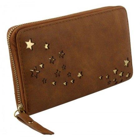 Bruine kleur portemonnee met gouden kleur kleine sterren