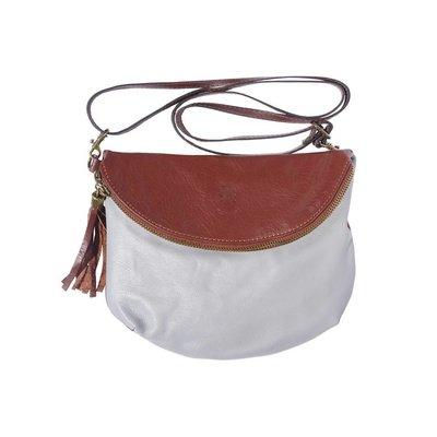 Leren tas cross-body licht grijs met bruine kleur