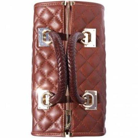 Handtas van gevoerde leer gevlochten leren handgrepen in bruin kleur