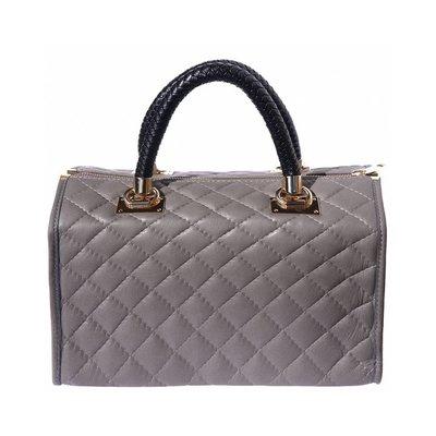 Donker grijze leer handtas met gevlochten zwarte kleur handvatten