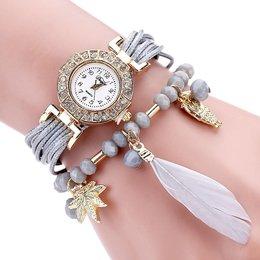 Leuke horloge dubbele armband veer met kralen grijze kleur