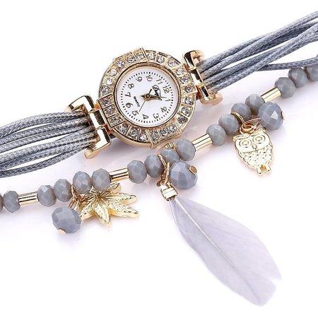 Leuke horloge dubbele armband hangertjes veer met kralen grijs kleur